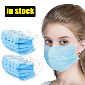 100 Pcs Medical Surgical Face Mask Disposable Masks 3-Ply Anti-bacterial Anti-Dust N95 PM2.5 Nonwoven Elastic Earloop Mouth Mask
